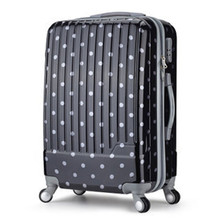 YISHIDUN 2016 Polka dot ABS+PC trolley men women suitcase universal wheels rolling travel luggage bag 20 24 28 inch valiz bags - RED MAO store