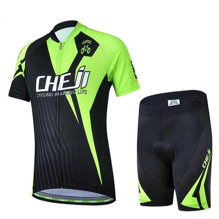 Kid CHEJI New Cycling Bike Short Sleeve Clothing Set Bicycle Children Suit Jersey + Shorts Black-Green CC0416(China (Mainland))