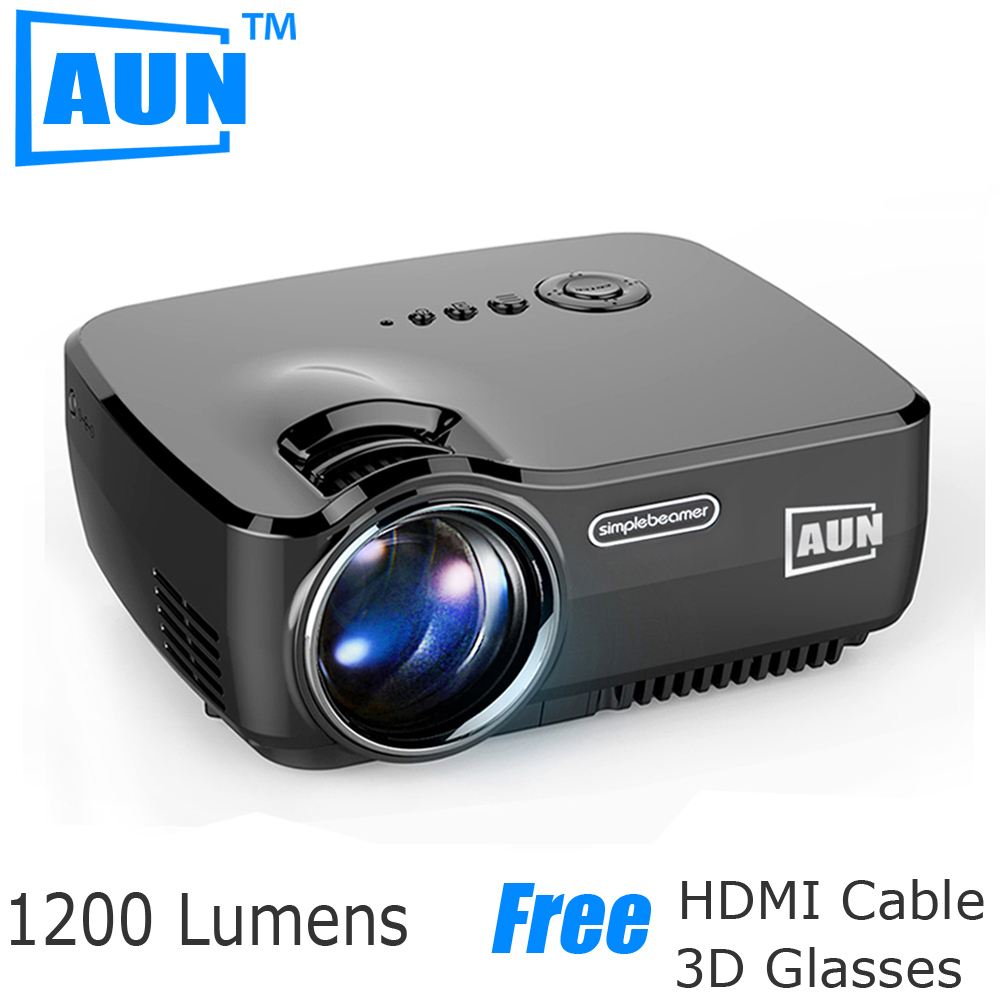 AUN Projector 1200 Lumens Support 1920x1080P Analog TV LED Projector MINI Projector for Home Cinema A TV Free Cable AM01(China (Mainland))