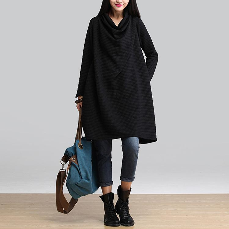 Vestidos 2016 Autumn Winter Women Casual Cotton Loose Scarf Collar Dress Temperament Long Sleeve Blouse Plus Size Dress
