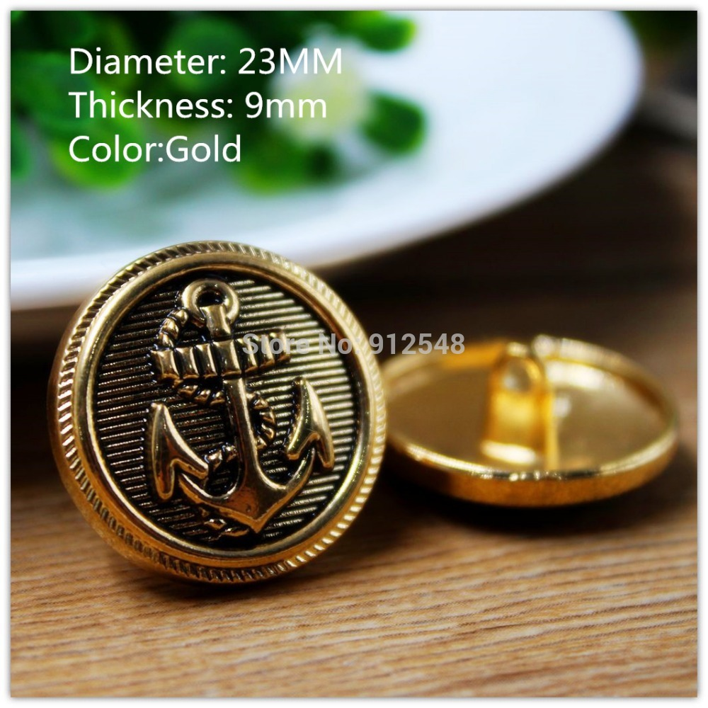 15418169,10pcs,23mm Classic fashion Gold Anchor metal buttons,Rub paintDIY handmade materials, Clothing accessories(China (Mainland))