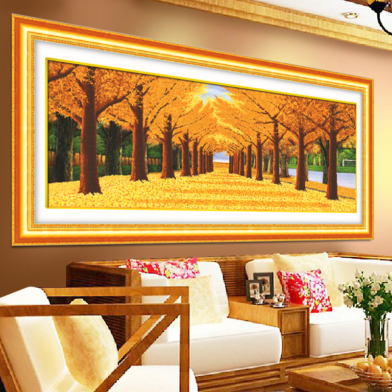 [ Mike86 ] Gold Leaves 5D Round diamond DIY Painting Bedroom Hall decoation DP-1007(China (Mainland))