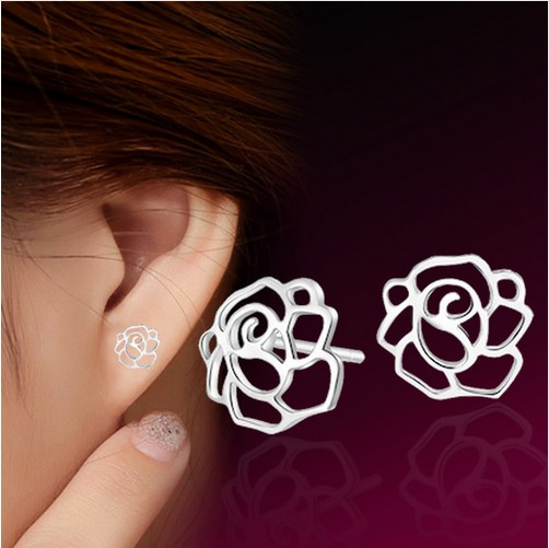 Hot silver stud earrings fashion simple style hollowed rose floral design earrings wholesale jewelry manufacturers(China (Mainland))