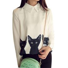 Printed Tops S-XL White Shirts Three Cats All-match Pullover Shirt Long Sleeved Casual Blusas Desigual Chiffon Blouses LQ8862M