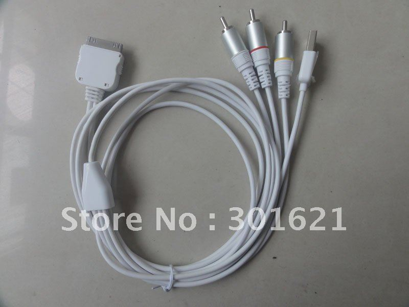 COMPOSITE AV Cable for ipod and iphone 3G, 3GS, 4G,4S and iPad 3 iPad 2 iPad. Support IOS 5.13(China (Mainland))
