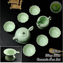 9pcs Rare China Song Ding Kiln Porcelain Teaset,Ding Yao Ware Sky Cyan Teapot&Justice Cup&6 Tea Cups,Ceramics Tea Set DY003-6