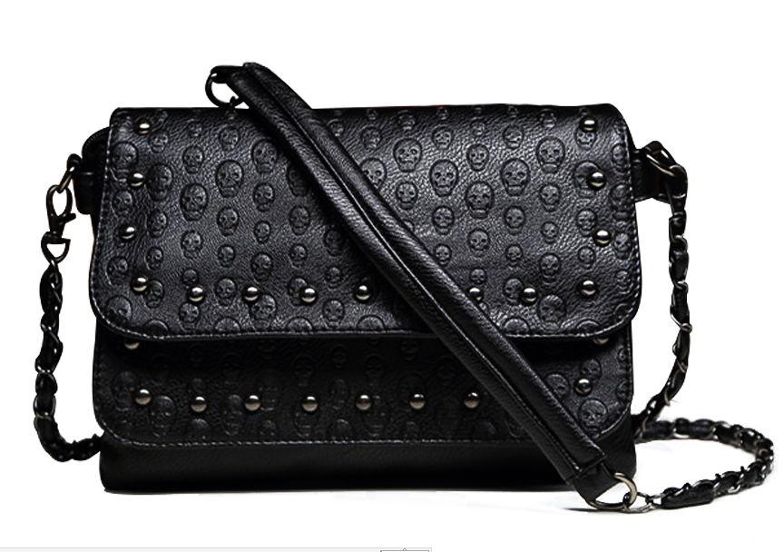 2016 New Fashion Ladies nail satchel Soft Skull Black chain Bag Handbag Women bag(China (Mainland))