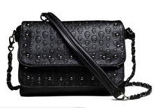 2016 New Fashion Ladies nail satchel Soft Skull Black chain Bag Handbag Women bag