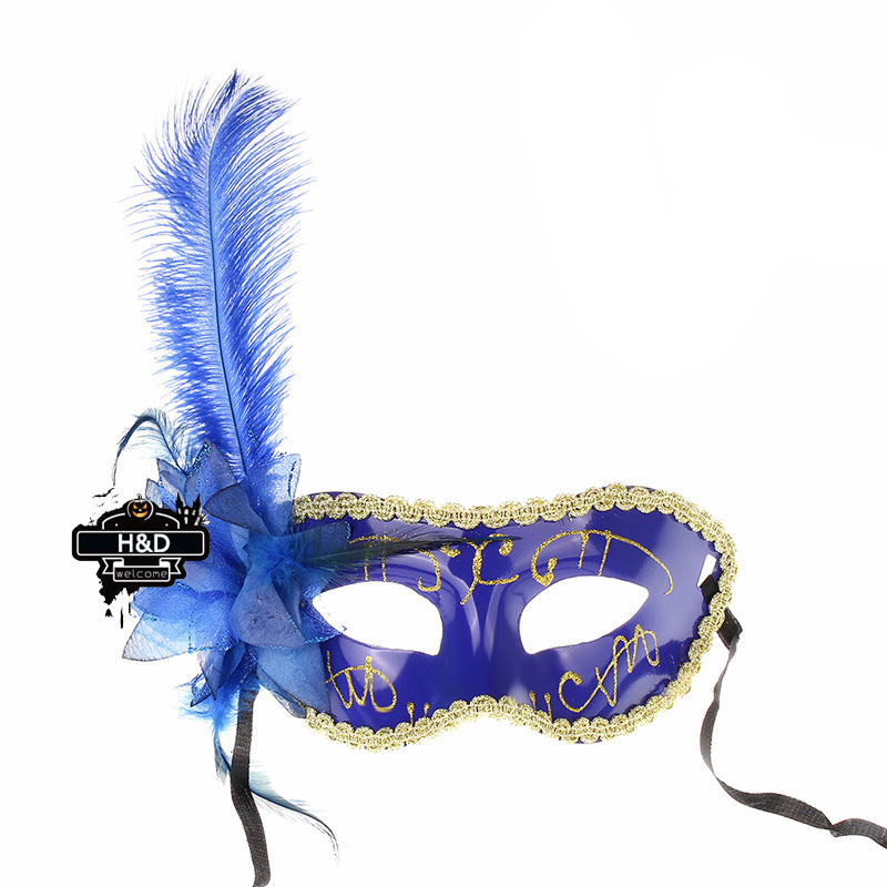 Half Face Women Venetian Halloween Feather Flower Princess Party Mask Lace Masquerade Mask Carnival Party Fancy Dress Wedding