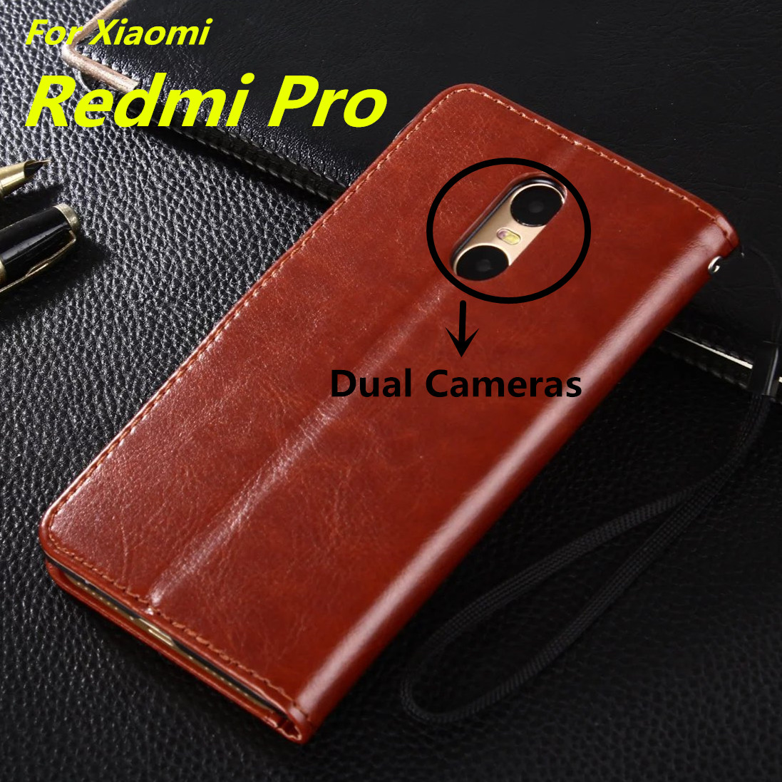"""Fundas Xiaomi Redmi Pro 5.5"""" card holder cover case for Xiaomi Redmi Pro Pu leather phone case ultra thin wallet flip cover(China (Mainland))"""