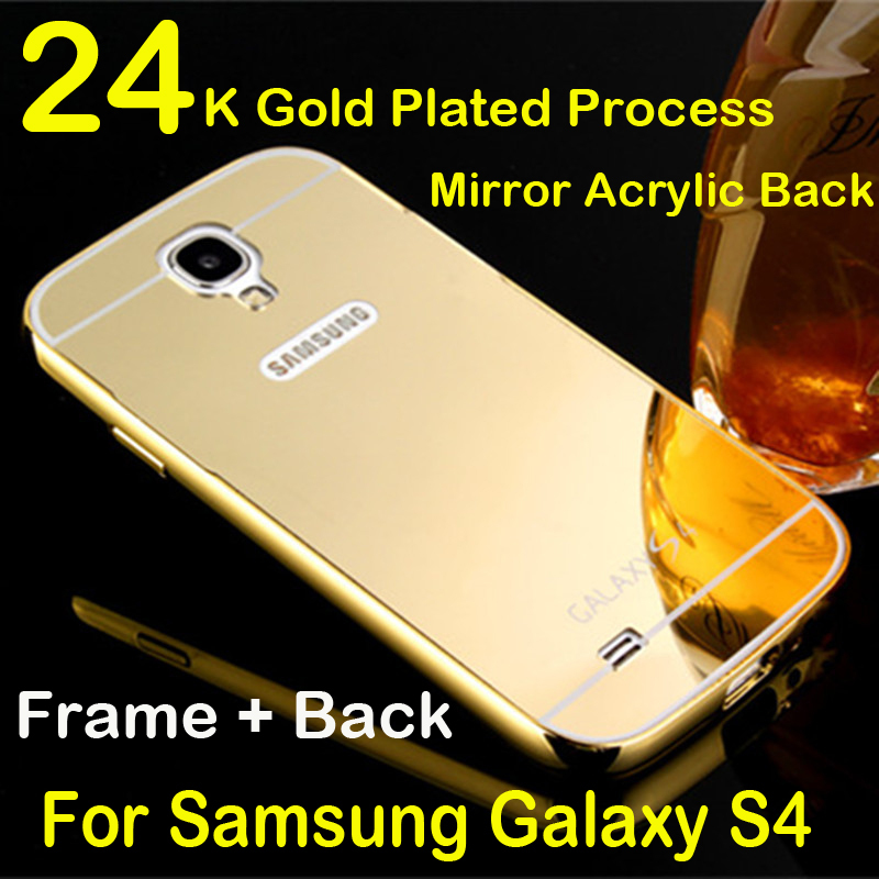 For Galaxy S4 case Luxury 2 in 1 Metal Aluminum Frame + Mirror Acrylic Back Cover Case for samsung galaxy s4 i9500 Phone Shell(China (Mainland))