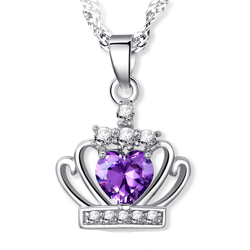 925 Sterling Silver Fashion Party Jewelry Modern Design White Purple Crystal Cubic Zirconia Crown Pendants Necklaces For Women(China (Mainland))