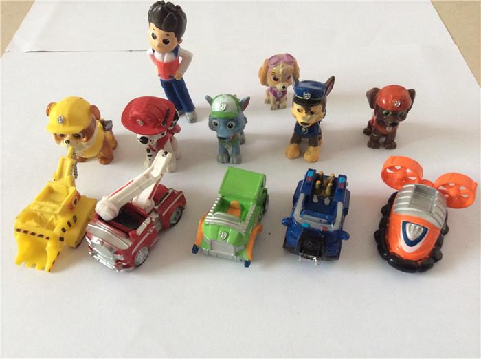 Paw Patrol Dog 12pcs/lot Figurine Cars Plastic Toys ,Action Figure Children Gifts Dog puppies brinquedos patrulla canina toys(China (Mainland))