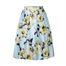 New Arrival Womens Flower Sprinted Elastic High Waist Satin Midi Skirt Womens Summer Floral Puffy A-Line Tutu Knee Length Skirts