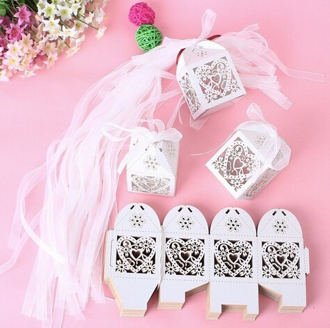 5Love Heart Laser Cut Candy Gift Boxes Ribbon Wedding Party Favor Creative Bags - Supplies And Favors store
