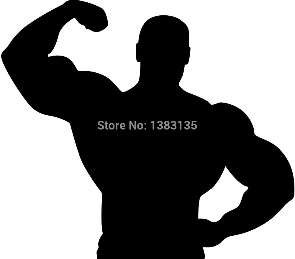 Hot Sale Muscle Man Silhouette Car Sticker For Truck Window Bumper SUV Door Laptop Kayak Vinyl Decal 8 Colors(China (Mainland))