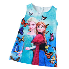 Summer 2016 Baby Girls Dresses Anna Elsa Quuen Snow Dress Girls Christmas Party Elsa Formal Dress Girls Clothes 3-8Y vestidos(China (Mainland))