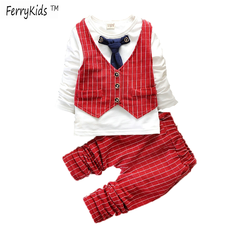 2016 New Spring Baby Boys Clothes Gentleman Suit Toddler Boys Clothing Set Baby Infant Clothing Wedding Birthday Outfits(China (Mainland))