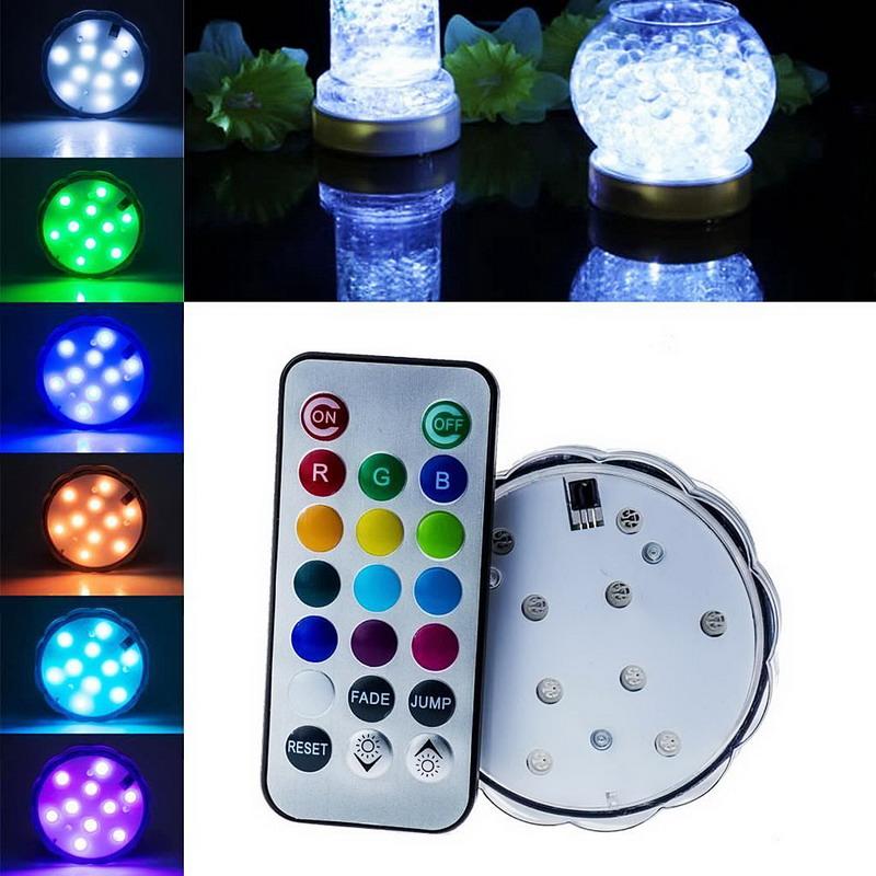 10 LED Multi Color Submersible Waterproof Wedding Party Vase Base Light + Remote VCS73 P18 0.4(China (Mainland))