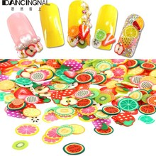 Pro 3D Nail Art Tiny Polymer Clay Slices Animals Fruits Flowers Sticker For DIY Manicure Design Phone Cover Case Decoration(China (Mainland))