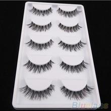 5 Pairs Lot Black Cross False Eyelash Soft Long Makeup Eye Lash Extension 2V78(China (Mainland))