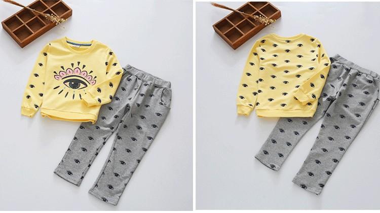 Скидки на Весна Осень Обильные Глаза Девушки Детская одежда набор хлопок толстовка & брюки 3 4 5 6 7 8 9 10 11 12 лет девочки одежда набор