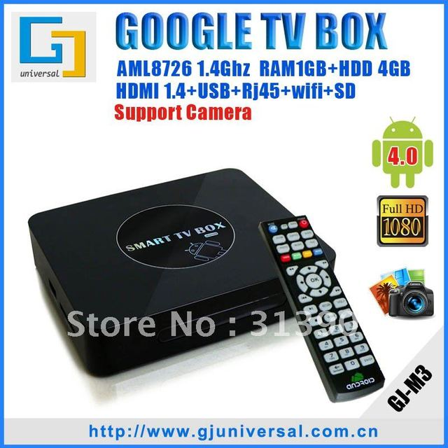 Hotselling Google Android 4.0 TV Box,Cortex-A9 1.4G MHz+DDR 1GB+4GB+Wireless Mouse+Little Gift,WIFI+3D+HD 1080P+Internet TV Box