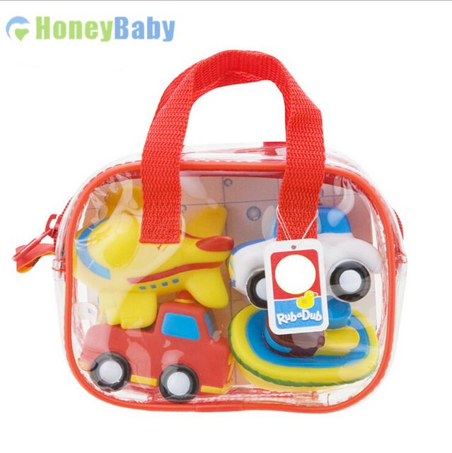 4 шт. пакет милый бесплатный проезд тема мягкие резиновые детские игрушки ванны дети игрушки водные игрушки WJ123