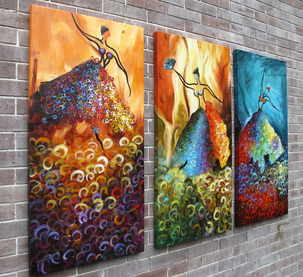 Framed oil painting three picture combination modern abstract dancer girls oil paintings for wall decoration(China (Mainland))