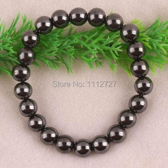 "Fashion diy lovely 10X10MM Magnetic Hematite Round Beads Stretch Bracelet jewelry Bangle Natural Stone 8""L R201 Wolesale Price(China (Mainland))"