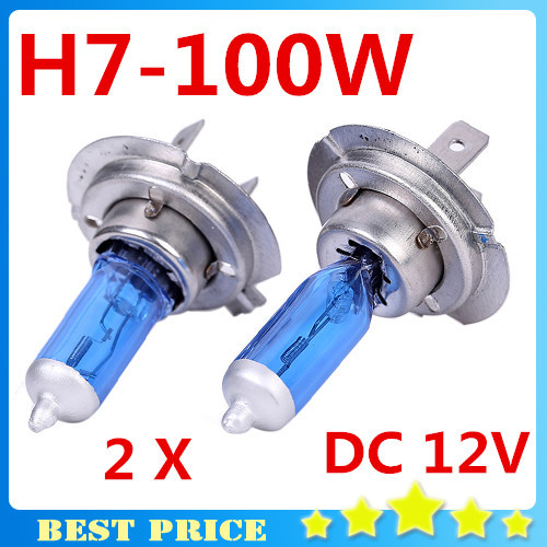 Free Shipping H7 12V 100W 6000K Xenon H7 Super White Halogen Car Light Source Bulbs Headlights Auto Lamp Parking Cars 2pcs/lot(China (Mainland))