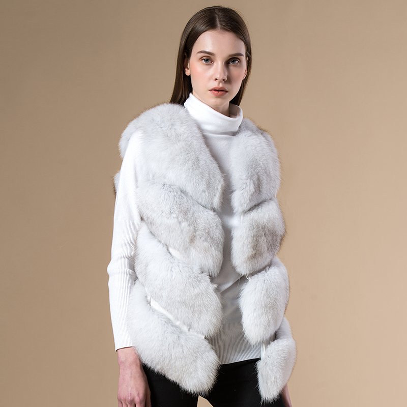 7 colors Women winter new real fur vests 4 bars Natural Fox fur gilet Genuine Leather jacket fur coat female fur vest(China (Mainland))