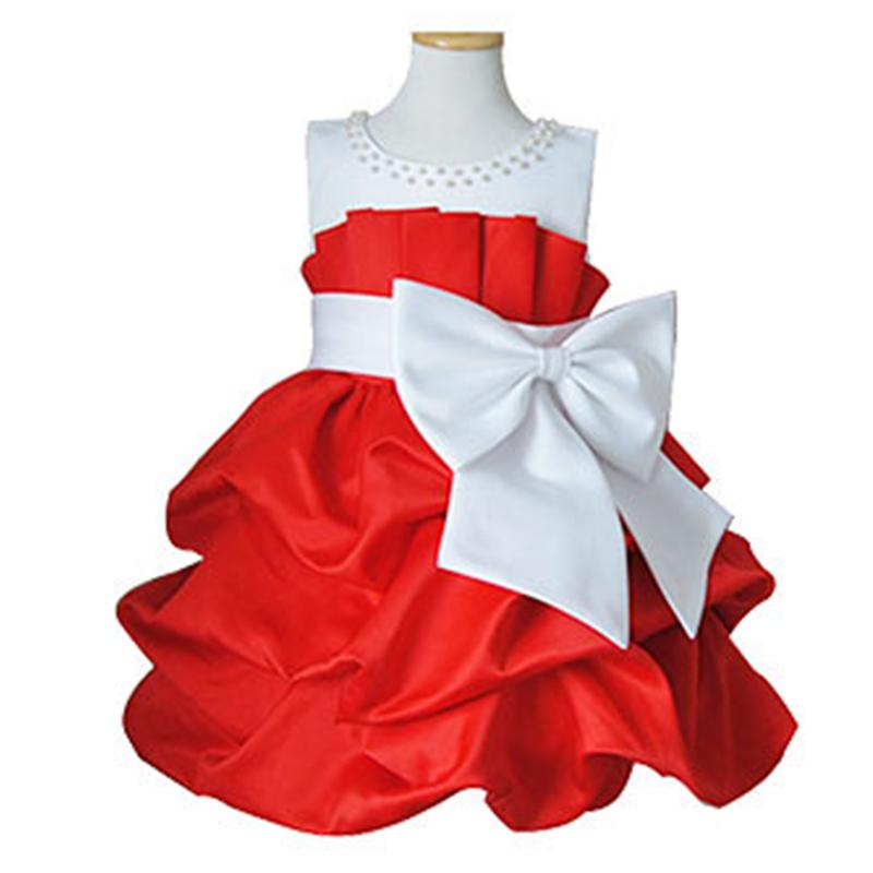 Summer 2016 New Fashion Next Baby Girl's princess dress Children formal dress Kids tulle dress red flower wedding Tutu dress(China (Mainland))