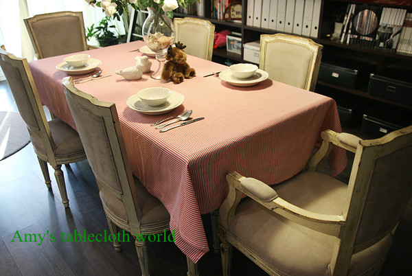 FREE SHIPPING, 100% cotton pink and white stripe tablecloth,130x180cm table cover, 5 size in stock(China (Mainland))
