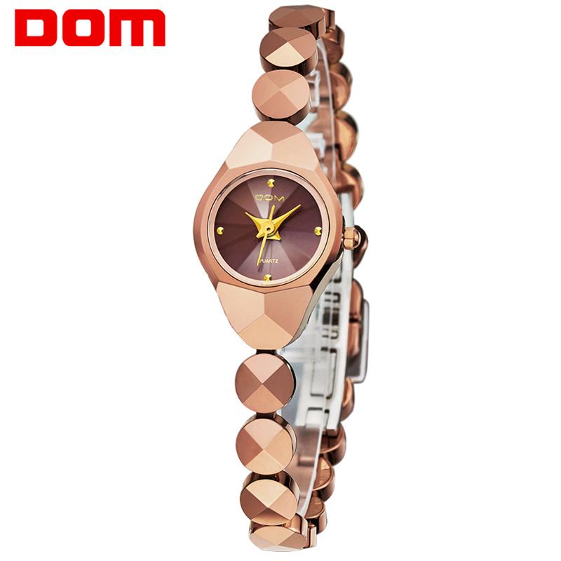 DOM 2016 Womens Watches Top Brand Tungsten Steel Watch Fashion Quartz Wristwatches Luxury Brand Watch For Women Business Watche(China (Mainland))