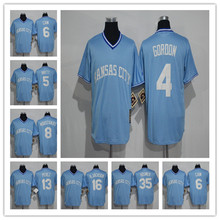 Men's 6 Lorenzo Cain 4 Alex Gordon 5 George Brett 8 Mike Moustakas 13 Salvador Perez Light Blue Throwback Stitched Jerseys(China (Mainland))