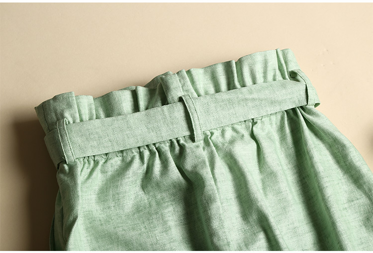 2016  Summer Ruffles Waist Wrap Skirt Linen Tencle  Casual High Waist Short Skirt New Short Jupe Mujer