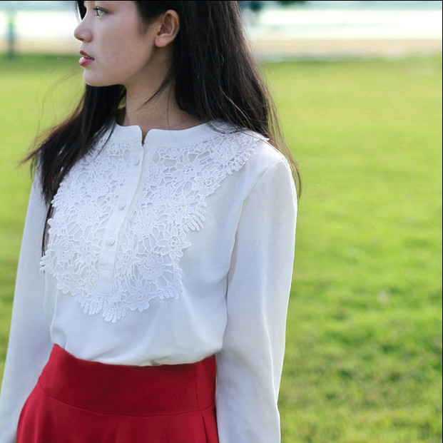 Girls Cotton Blouses 2016 Spring Summer White Full Sleeve O Neck Linen Shirts Lace School Young Solid Casual Shirt - LOOKWEEN store