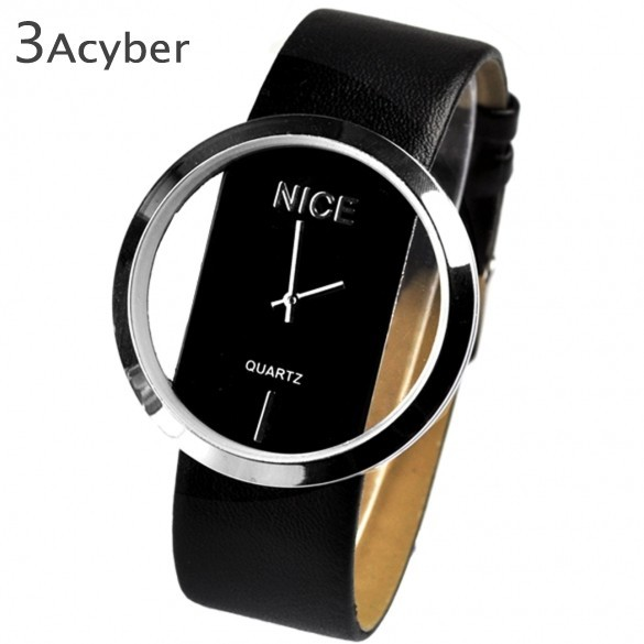 New Fashion Ladies' Watch Simple Transparent Dial Quartz Wrist watch with PU Leather Strap 7 Colors Free Shipping 25
