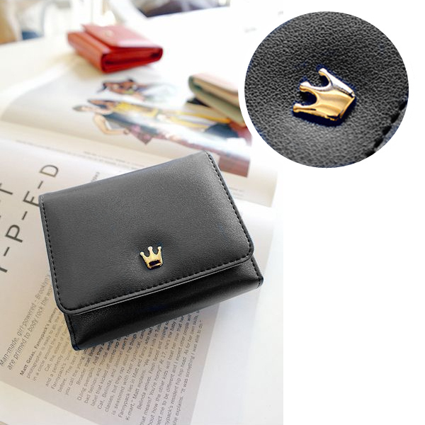 2015 Korean Girls Wallets Crown Lovely Purse Mini Concise Folder For Students Wallet Carteras Mujer Black Pink Red(China (Mainland))