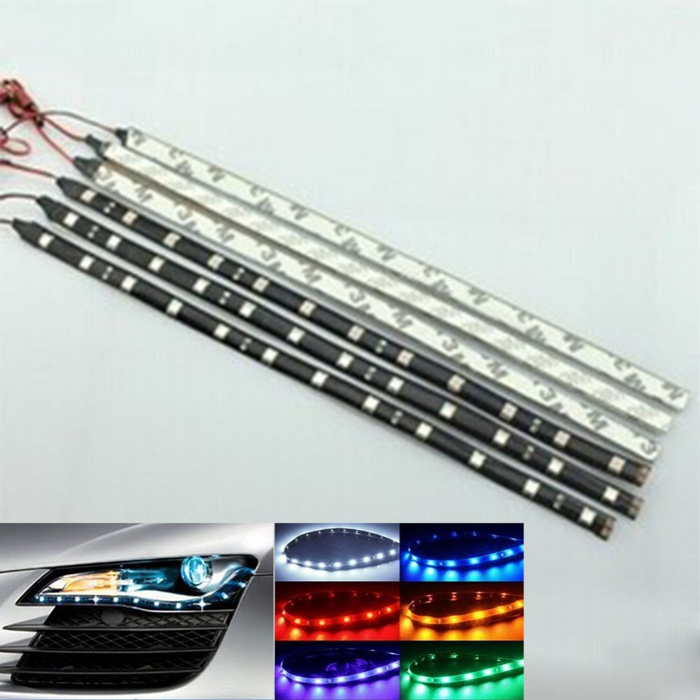 2Pcs 12 LEDs 30cm 5050 SMD LED Strip Light Flexible Waterproof 12V DIY Daytime Running Car Lights Decoration Lights(China (Mainland))