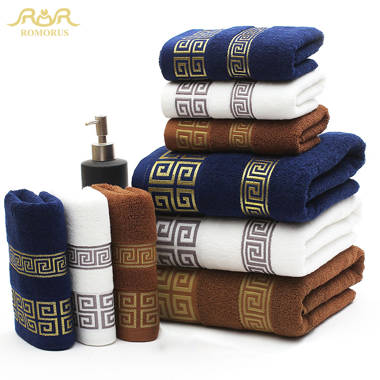 ROMORUS 100% Cotton Embroidered 3pcs Beach & Bath Towel Sets for Adults Luxury Brand Embroidered Bamboo Face Towel For Kids(China (Mainland))