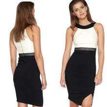 Buy Hot Style Women Sexy Halter Sleeveless Split Bodycon Dress Package Hips Patchwork Elbise Vestido De Festa Plus Size DressesEZ324