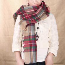 1pcs scarf plaid new designer unisex acrylic basic wrap shawl women female Women Oversized Blanket Tartan Scarf Wrap