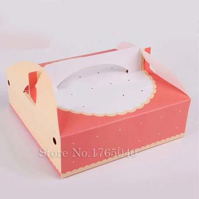20.5x20.5x6.5cm pink 8 inch cheese cake box food packing portable bread pizza sushi hamburger box 100pcs/lot(China (Mainland))