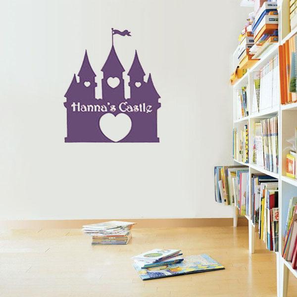 Princess Castle Custom Name Girls Nursery Art Wall Decal Kid Wall Sticker DIY Vinyl Decoration Home Decor For Baby Room(China (Mainland))