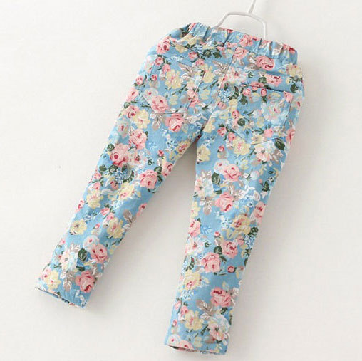 2015 New Girls Floral Jeans Trench Spring Autumn Cotton Washed Jeans Warm Baby Girls Jeans Kids