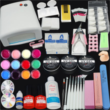 Gel Nail Polish Tools  36W UV GEL White Lamp & 12 Color Nail Art Kits manicure set New arrive(China (Mainland))