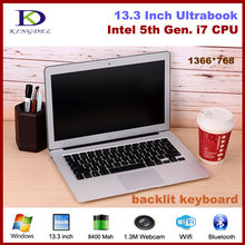 Best price Core i7 5th Generation CPU 13.3 inch Ultrabook backlit Laptop Webcam Wifi Bluetooth with 8G RAM+128G SSD(Hong Kong)