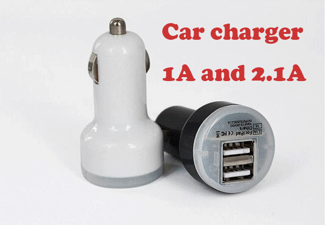 Free shipping Duplex car charger cell phone car charger pacifier double USB 1A and 2.1 A car charger(China (Mainland))